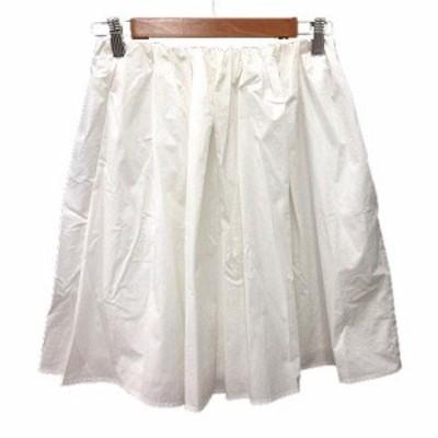 【中古】スピック&スパン Spick&Span フレアスカート ミニ 麻混 リネン混 36 白 ホワイト /YK レディース