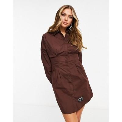 シックスジュン レディース ワンピース トップス Sixth June long sleeve mini shirt dress Chocolate