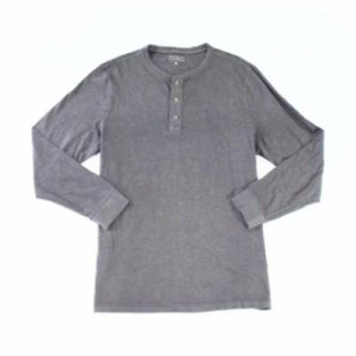 Nine  ファッション アウター Club Room Mens Shirt Nine Iron Gray Size Large L Crewneck Henley