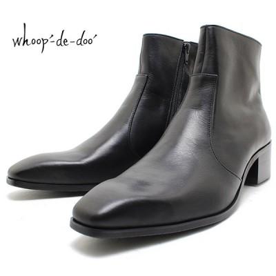 フープディドゥ whoop-de-doo 19410132 ソフトレザーチゼルトゥブーツ 本革ブーツ ヒール付き ハイヒール 革靴 仕事用 メンズ whoop'-de-doo'