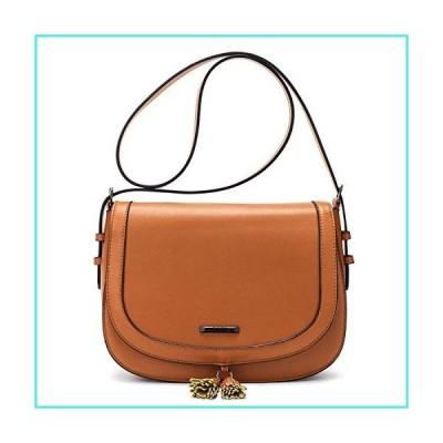 【新品】ECOSUSI Women's Saddle Bag Purses Crossbody Shoulder Bag with Flap Top & Tassel, Brown(並行輸入品)