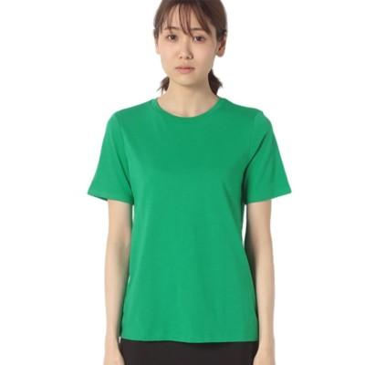 (BENETTON (women)/ベネトン レディース)クルーネック裾ロゴ刺繍半袖Tシャツ・カットソー/レディース グリーン