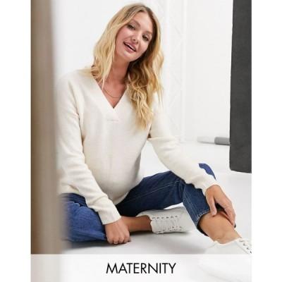 アーバン ブリス マタニティー Urban Bliss Maternity レディース ニット・セーター Vネック トップス v neck knitted jumper in beige オートミール