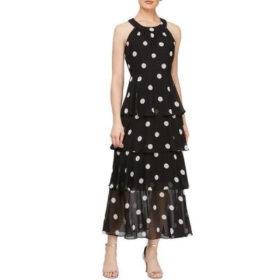 イグナイトイブニングス レディース ワンピース トップス Tiered Polka Dot Halter Neck Chiffon Maxi Dress Black/Ivory