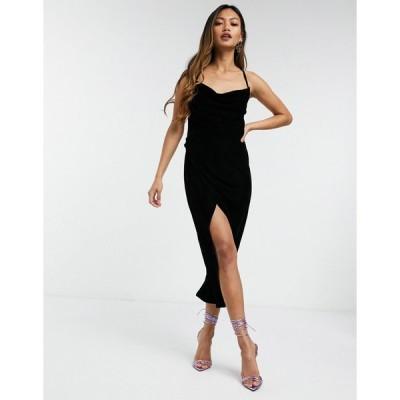 エイソス ミディドレス レディース ASOS DESIGN Velvet Slip Dress with strap detail エイソス ASOS ブラック 黒