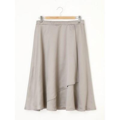 【大きいサイズ】サテン地アシンメトリーフレアスカート 大きいサイズ 大きいサイズ スカート レディース