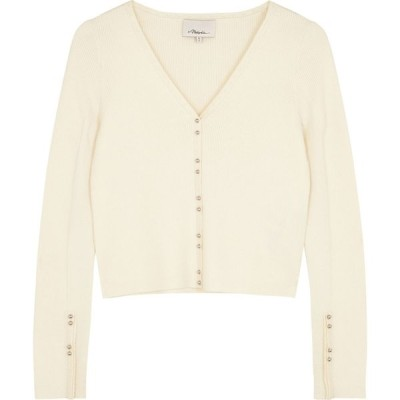 スリーワン フィリップ リム 3.1 Phillip Lim レディース カーディガン トップス Cream rib-knit wool-blend cardigan White