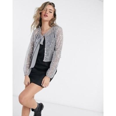 ヴィラ レディース カーディガン アウター Vila sequin tie neck jacket in silver