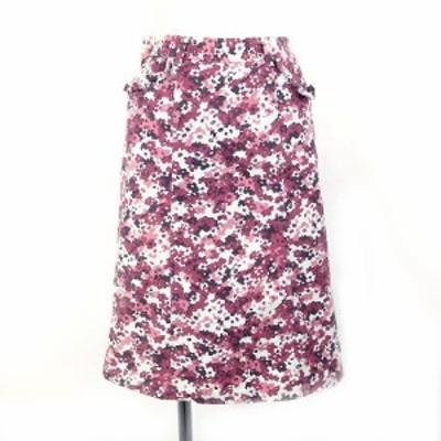 【中古】FRENCH REVOLUTION スカート ひざ丈 水色 紫 花柄 レディース
