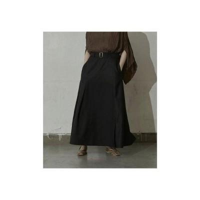 ミエット miette アシンメトリースリットロングスカート (ブラック)