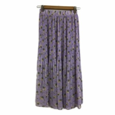 【中古】アンティックラグ anticrag スカート プリーツ ロング 花柄 紫 黄 パープル イエロー レディース