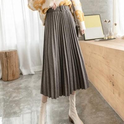 【ANDSTYLE】韓国ファッション/ラメ入り ベルト付き ウールプリーツスカート/ナチュラルな輝きが上品見えする ラメ入り ベルト付き ウールプリーツスカート _248379