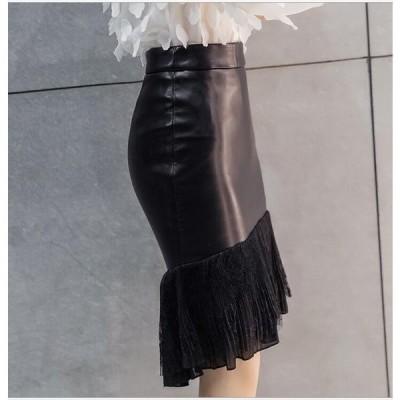 韓国風マーメイドスカートレザーレディースPUスカート膝丈スカート秋冬スカートタイトスカート着痩せレディースおしゃれ個性ダンス衣装