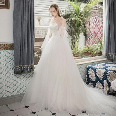 ウエディングドレス 結婚式 花嫁 ブライダル 安い 白 レース ロングドレス ウエディングドレス aライン 二次会 パーティードレス 演奏会 フォーマルドレス