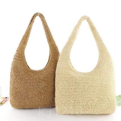 草編み風バッグかごバッグ可愛いショルダーバッグ大きめレディースバッグ縄編み軽量リゾート風海旅行春夏2色