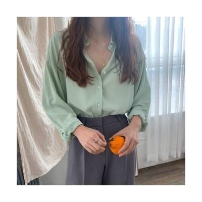 トップス レディース 夏 コンサバ シャツ ブラウス ルーズシャツ 襟付き Vネック 長袖 無地 ゆったり 清楚 上品 オフィス オフィスカジュアル 在宅 お家
