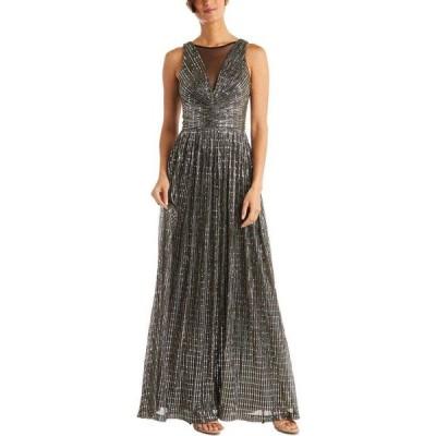 ナイトウェイ Nightway レディース パーティードレス ワンピース・ドレス Metallic Illusion Gown Black/Silver