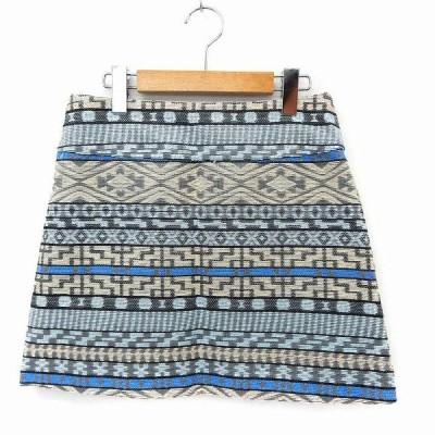 【中古】マリンフランセーズ LA MARINE FRANCAISE スカート ミニ 台形 総柄 バックジップ 1 ブルー /ST36 レディース 【ベクトル 古着】