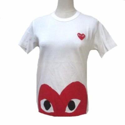 【中古】プレイコムデギャルソン PLAY COMME des GARCONS Tシャツ ハート 白 ホワイト プリント 半袖 カットソー S コットン NST X