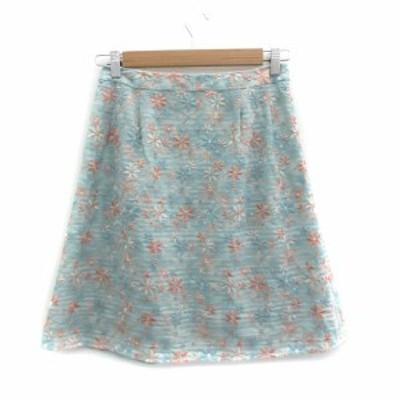 【中古】トッカ スカート フレア ひざ丈 花柄 刺繍 薄手 2 マルチカラー 水色 ライトブルー ピンク /SM17 レディース