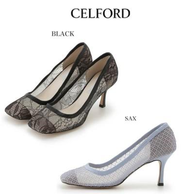 SALE50%OFF CELFORD セルフォード 通販 スクエアトゥレースパンプス cwgs201512 /2020春夏.オケージョン セレモニー 式典 パンプス