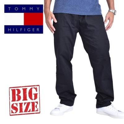 大きいサイズメンズ TOMMY HILFIGER トミーヒルフィガー チノパン コットンパンツ 黒 ブラック 38 40 42 44 46インチ