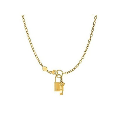 """14k Yellow Gold Lock And Key Chain Necklace,18"""""""