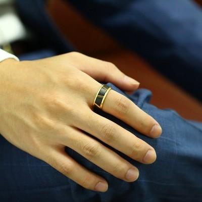 指輪 メンズ リング 黒 ブラック ゴールド タングステン おしゃれ 大人