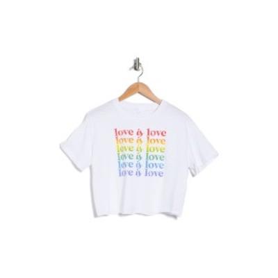 アボンド レディース Tシャツ トップス Graphic Crop T-Shirt WHITE LOVE IS LOVE