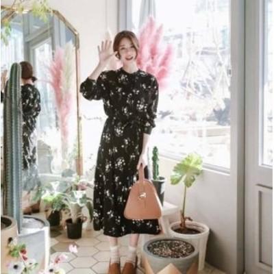 ロングワンピース ワンピース ロング丈 マキシワンピース ワンピース 大きいサイズ ゆったり 春ワンピース 春花柄 韓国 レディース ファ