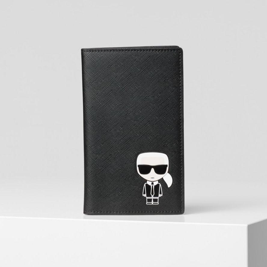 Karl Lagerfeld 卡爾 老佛爺包包 IKONIK旅行護照夾-黑  (原廠公司貨)