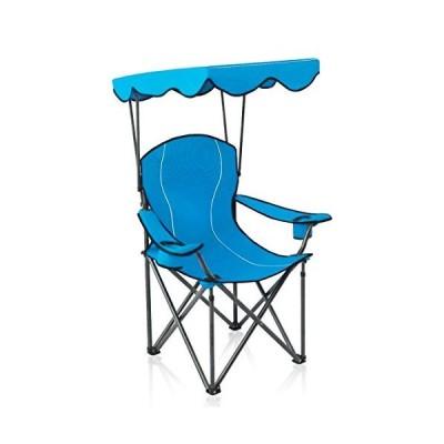 アルファCampポータブルキャンプ椅子Folding Quad Chair with Adjustable Shade Canopy and Carryバッグ, ブルー 70100501-4【