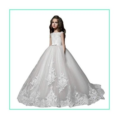 Lace Bodice Flower Girl Dresses with Butterfly First Communion Dresses (B-White, 2)並行輸入品