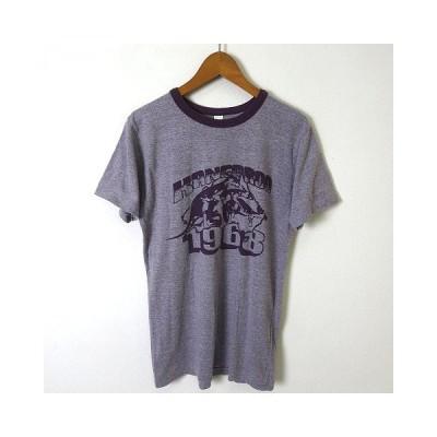 【中古】アメリカンアパレル American Apparel Tシャツ スラブ 半袖 カンガルー プリント S 紫 パープル アメリカ製 メンズ 【ベクトル 古着】