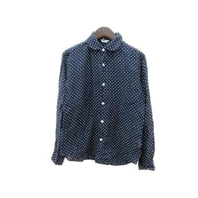 【中古】ルグラジック Le glazik シャツ ブラウス ラウンドカラー ドット 長袖 36 紺 ネイビー /MN レディース 【ベクトル 古着】