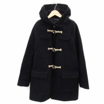 【中古】アーバンリサーチ URBAN RESEARCH コート ダッフル ミドル丈 フード付き ウール 1 紺 ネイビー レディース
