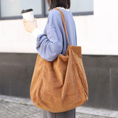 韓国のカジュアルな大容量ショッピングバッグ、ファッションコーデュロイキャンバスハンドバッグ、シンプルなレトロな文芸的で芸術的なワンショルダーハンドバッグ