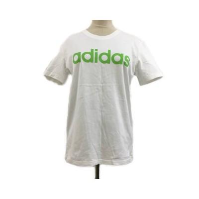 【中古】アディダスネオ adidas neo Tシャツ カットソー クルーネック ロゴ プリント 半袖 J/M 白 黄緑 ホワイト レディース 【ベクトル 古着】