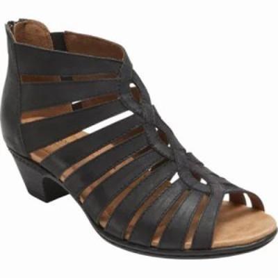 ロックポート サンダル・ミュール Cobb Hill Abbott Gladiator Sandal Black Leather