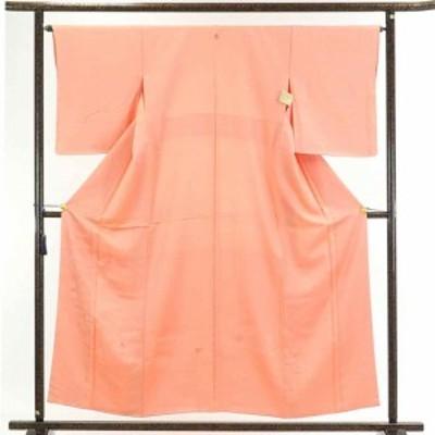 【中古】リサイクル着物 訪問着 / 正絹ピンクオレンジ地袷無地付下訪問着着物未使用品 / レディース【裄Mサイズ】身丈158cm 裄65cm 前