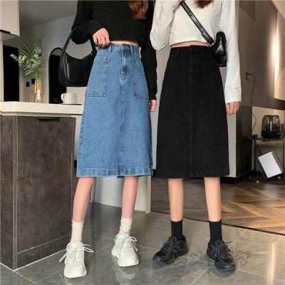 デニムスカート 2色 Aラインスカート レディース ハイウエスト ポケット付き ミモレ丈スカート ゆったり シンプル 体型カバー 20〜40代 大人 普通着 お出かけ