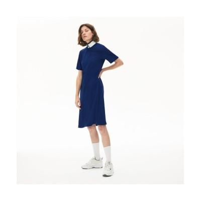 【ラコステ】 ハーフジップフロウリーポロドレス レディース ブルー 36(M) LACOSTE