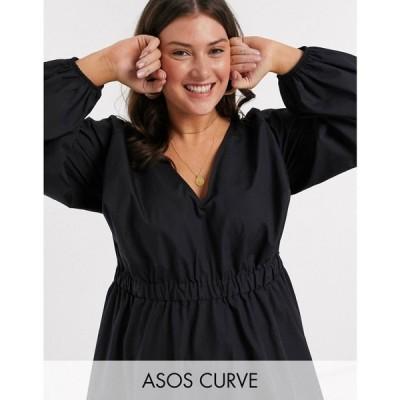 エイソス ASOS Curve レディース ワンピース Vネック ミニ丈 ASOS DESIGN Curve v neck cotton poplin elasticated waist mini dress in black ブラック