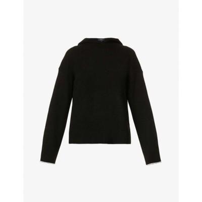 セオリー THEORY レディース パーカー トップス Relaxed-fit cashmere hoody Black Ecru Ae
