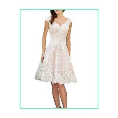 Liyuke Women's Short Vintage Wedding Dress V-Neck Lace Bridal Gowns Picture Color US 10並行輸入品