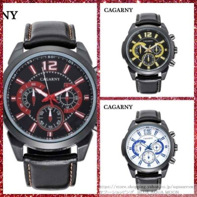 腕時計 メンズ 40代 20代 30代 おしゃれ 安い ミリタリー ブラックレザーストラップ CAGARNY カガニー