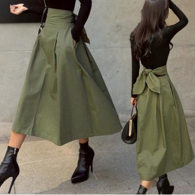 トレンチスカートバックリボンがキュートなチノスカート韓国ファッション  春夏 リボンベルト ひざ丈 ロング丈