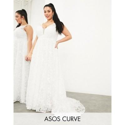エイソス レディース ワンピース トップス ASOS EDITION Curve Florence sleeveless embroidered wedding dress with plunge