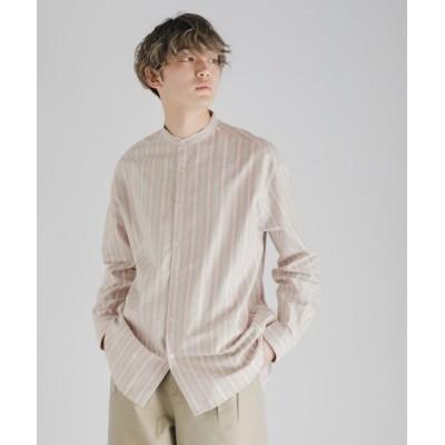 【センスオブプレイス バイ アーバンリサーチ】 ストライプオックスバンドカラーシャツ メンズ PINK L SENSE OF PLACE by URBAN RESEARCH