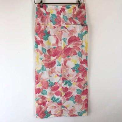 古着 DOROTHY L'AMOUR 花柄スカート made in FRANCE タイトスカート ヴィンテージ ピンク系 レディースL 中古 n015677